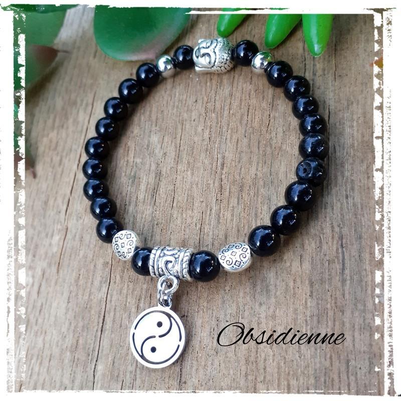 Bracelet obsidienne Yin & Yang