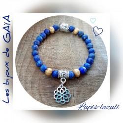 Bracelet lapis lazuli fleur...