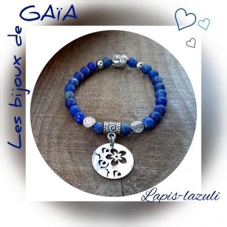 Bracelet lapis lazuli Médaillon floral