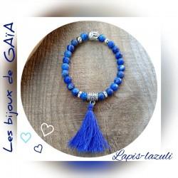 Bracelet lapis lazuli pompon
