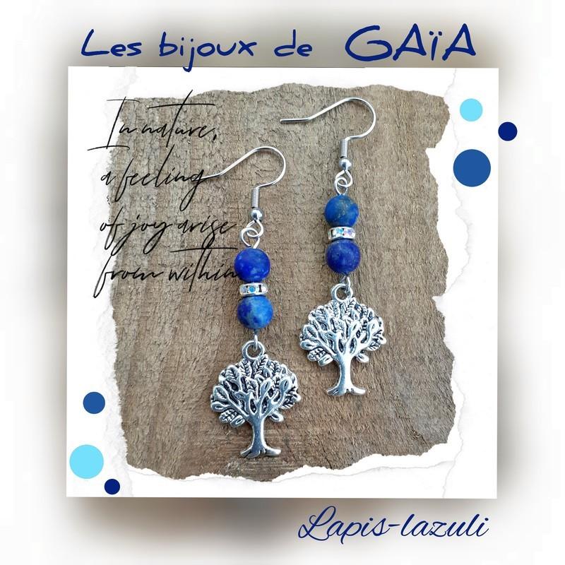 Boucles d'oreilles lapis lazuli arbre de vie