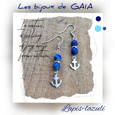 Boucles d'oreilles lapis lazuli ancre