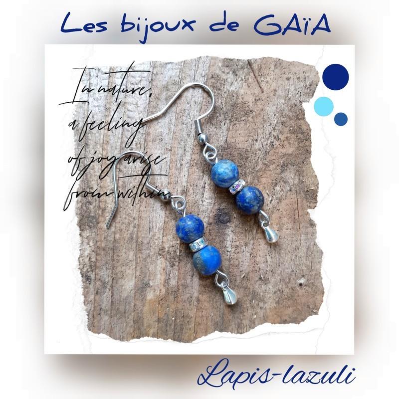 Boucles d'oreilles lapis lazuli goutte d'eau