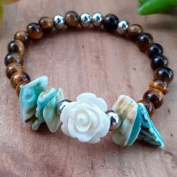 Bracelet oeil de tigre rose blanche