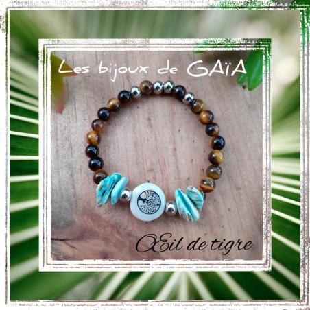 Bracelet oeil de tigre médaillon nacre arbre de vie