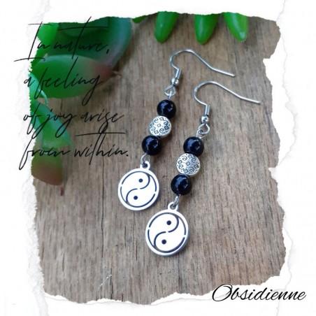 Boucles d'oreilles Obsidienne Yin & Yang