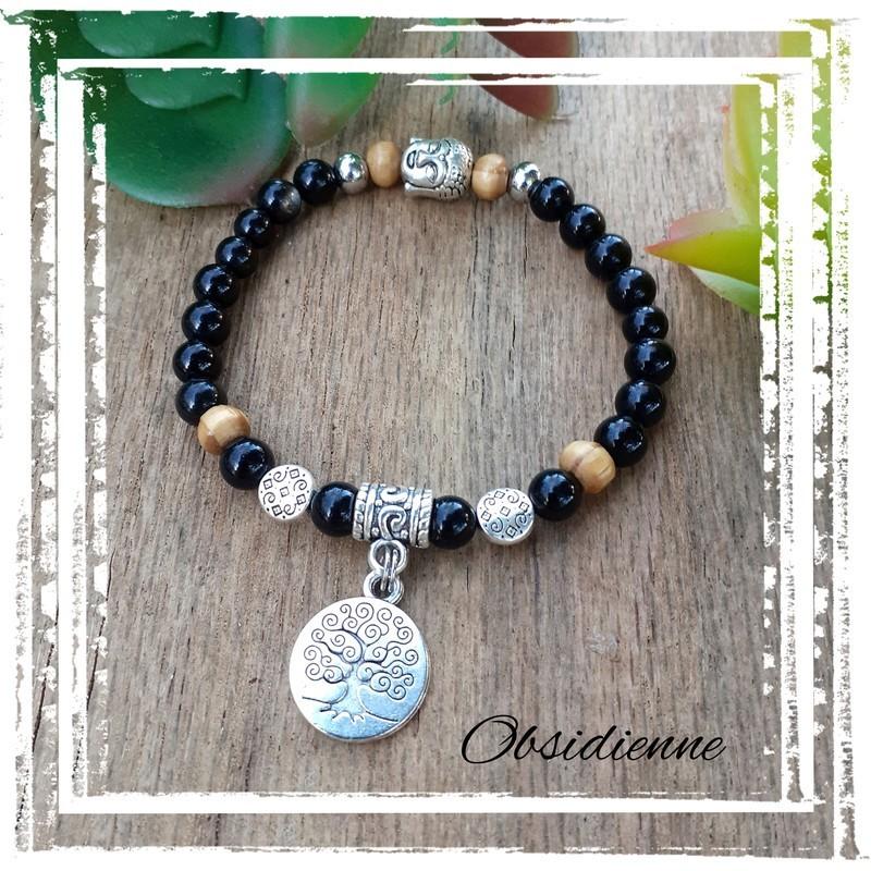Bracelet obsidienne Médaillon arbre de vie