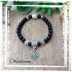 Bracelet obsidienne fleur...