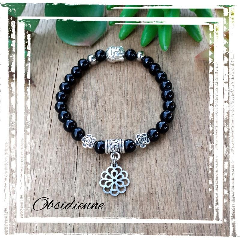 Bracelet obsidienne fleur de vie