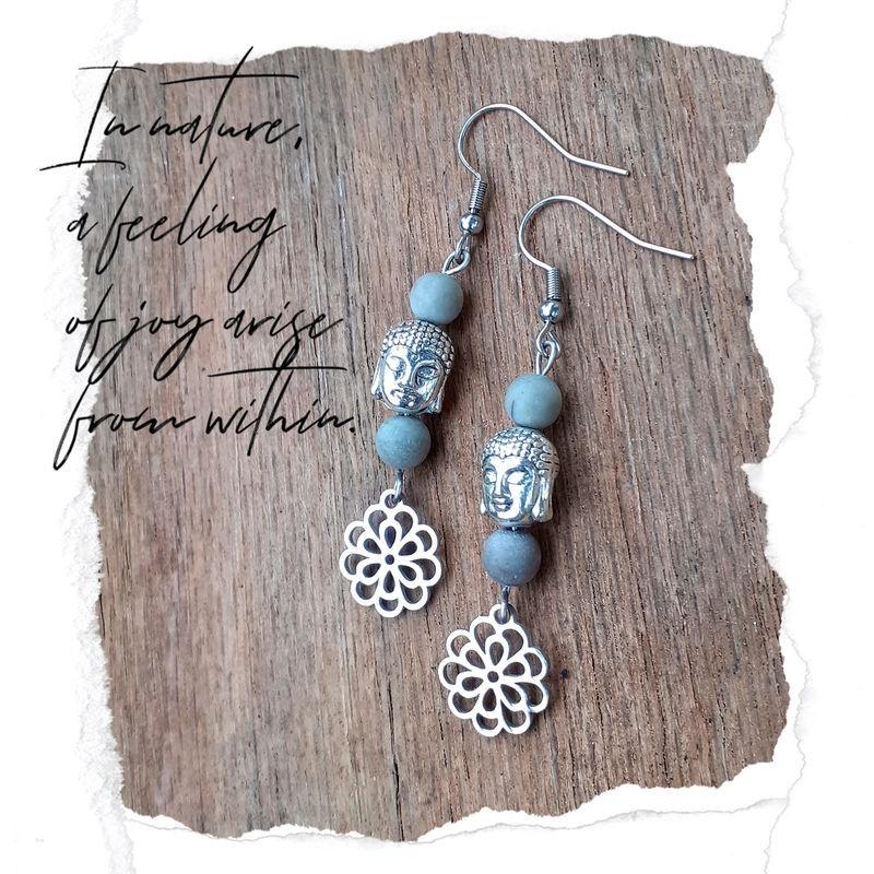 Boucles d'oreilles Jaspe Picasso fleur de vie