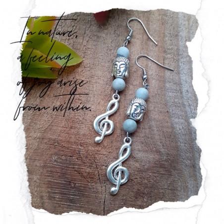 Boucles d'oreilles Jaspe Picasso clé de Sol