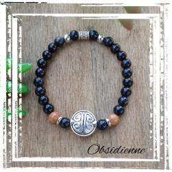 Bracelet obsidienne symbole...