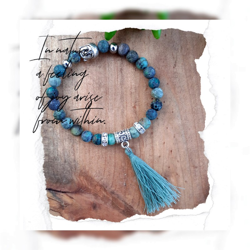 Bracelet turquoise Africaine pompon
