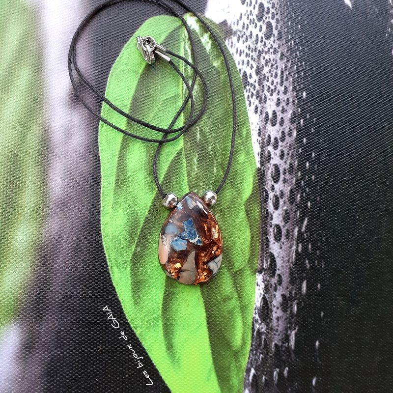 Collier bronzite et jaspe impérial