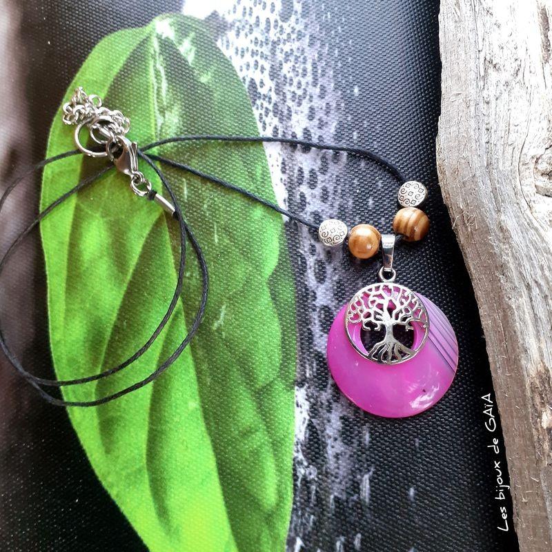 Collier Agate arbre de vie
