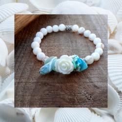 Bracelet nacre et coquillages Rose Blanche