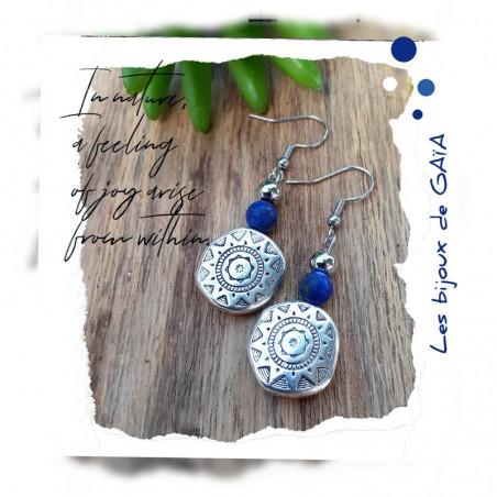 Boucles d'oreilles Lapis Lazuli Soleil