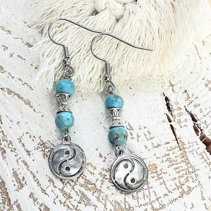 Boucles d'oreilles turquoise, Yin & Yang