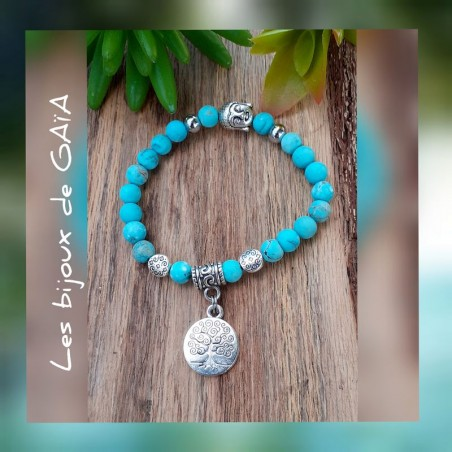 Bracelet turquoise médaillon arbre de vie