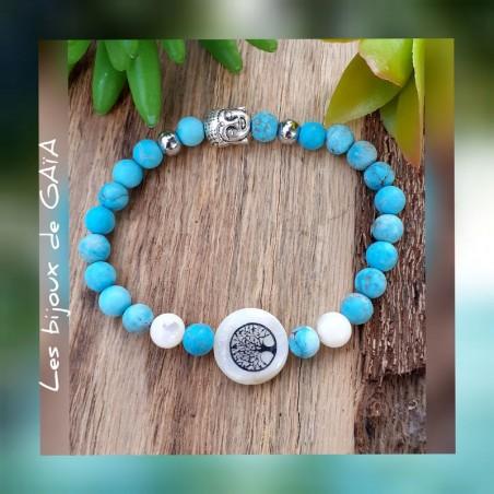 Bracelet turquoise et nacre médaillon nacre arbre de vie