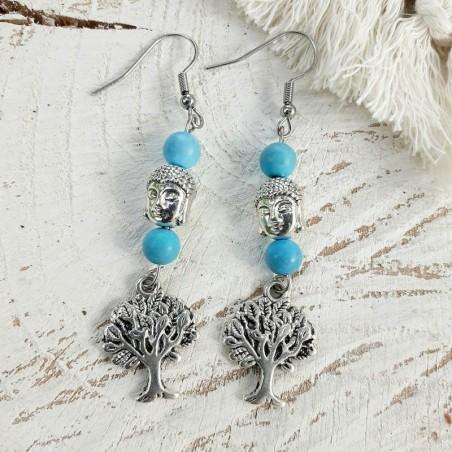 Boucles d'oreilles turquoise, perle bouddha et breloque arbre de vie