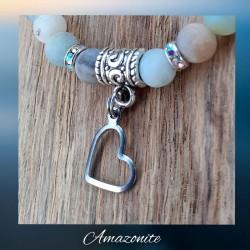 Bracelet amazonite coeur
