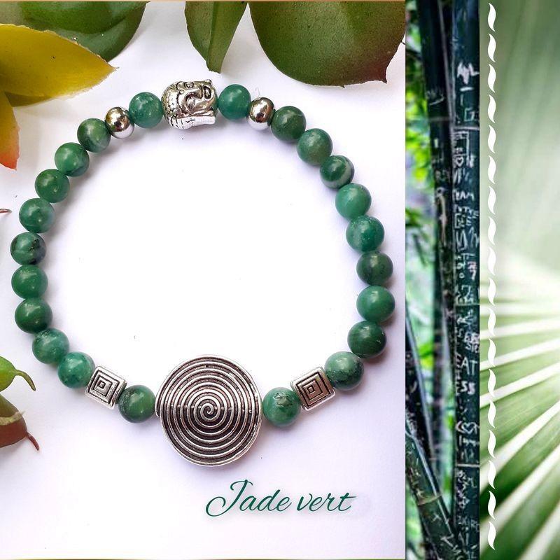 Bracelet jade vert Spirale de vie
