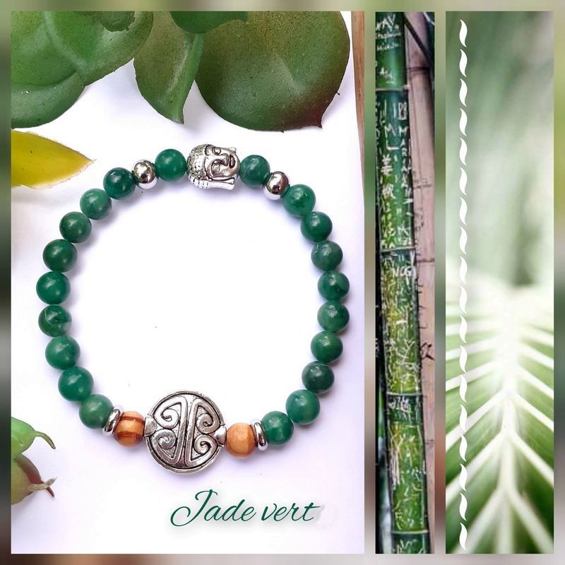 Bracelet jade vert Symbole de Longévité