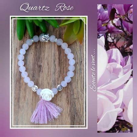Bracelet Quartz Rose Pompon