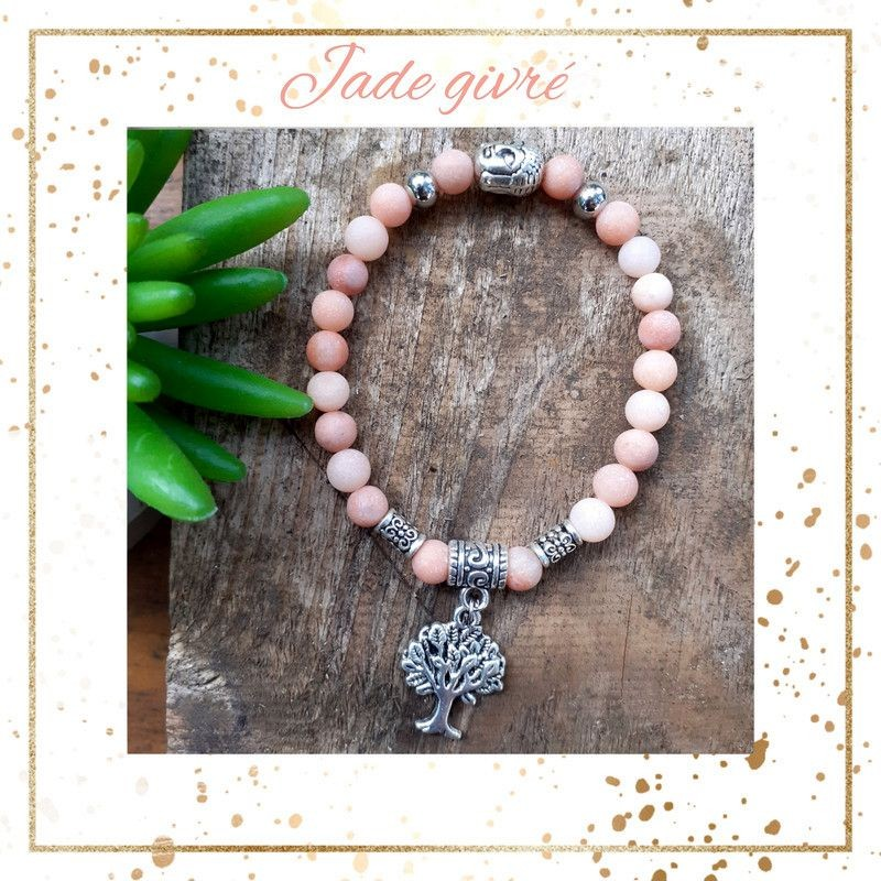 Bracelet jade givré médaillon arbre de vie