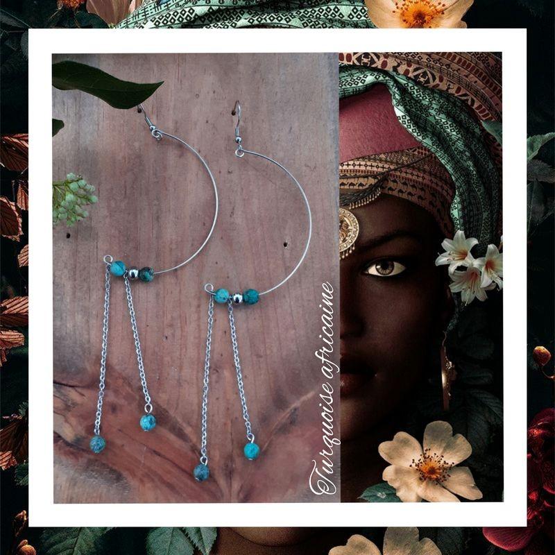 Boucles d'oreilles Turquoise Africaine Demi-Lune