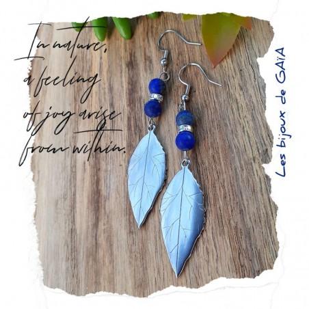 Boucles d'oreilles Lapis-Lazuli Feuille
