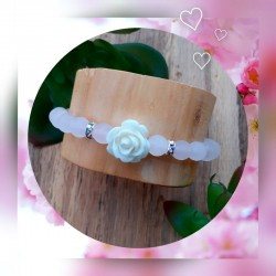 Bracelet Quartz Rose, Rose blanche