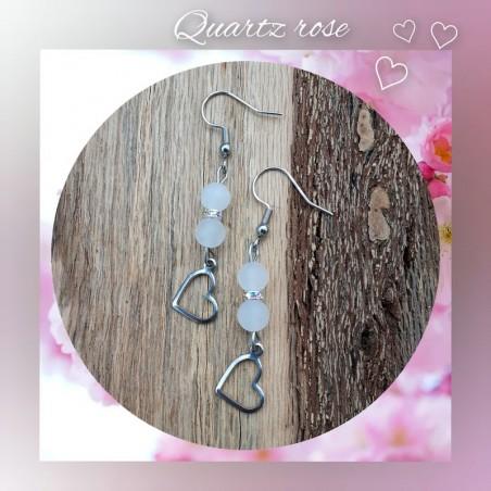 Boucles d'oreilles Quartz rose, Coeur