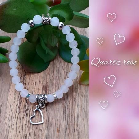 Bracelet Quartz Rose, Coeur