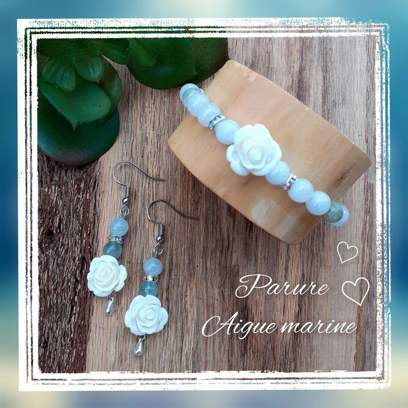 Ensemble Aigue-marine, Rose blanche
