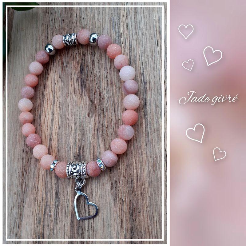 Bracelet Jade givré abricot, Coeur