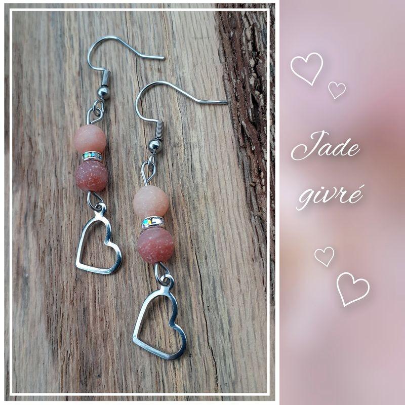 Boucles d'oreilles Jade givré, Coeur