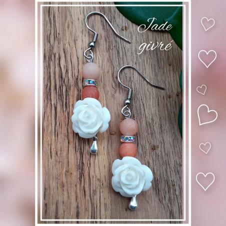 Boucles d'oreilles Jade givré, Rose blanche