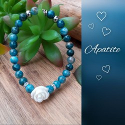 Bracelet Apatite, Rose blanche