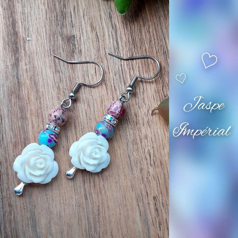 Boucles d'oreilles Jaspe impérial, Rose blanche