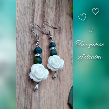 Boucles d'oreilles Turquoise Africaine, Rose blanche