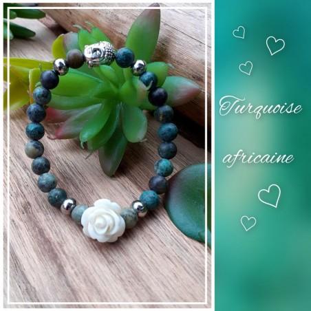 Bracelet Turquoise Africaine, Rose blanche
