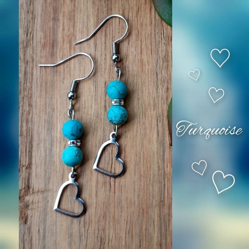 Boucles d'oreilles Turquoise, Coeur
