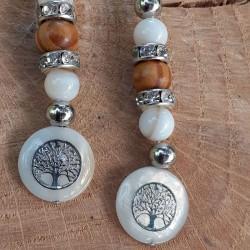 Boucles d'oreilles nacre et bois, médaillon nacre arbre de vie