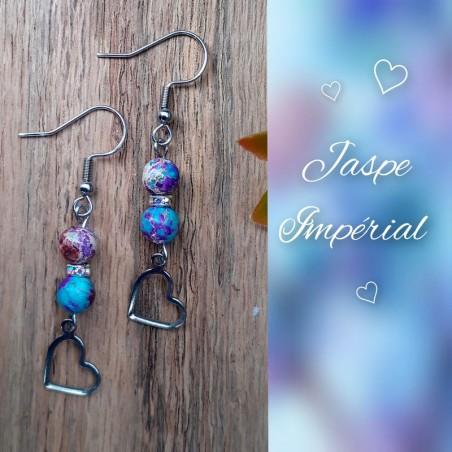 Boucles d'oreilles Jaspe Impérial Coeur