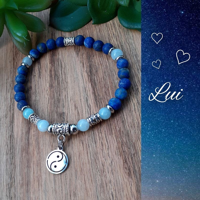 Bracelet Lapis-lazuli & Aigue-Marine, Yin & Yang
