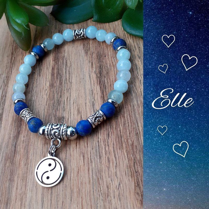 Bracelet Aigue-marine & Lapis-lazuli, Yin & Yang