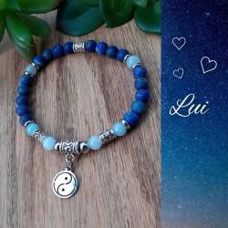 Ensemble bracelets Aigue-marine & Lapis-lazuli, Yin & Yang