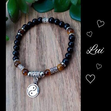 Bracelet Oeil de tigre & Obsidienne, Yin & Yang